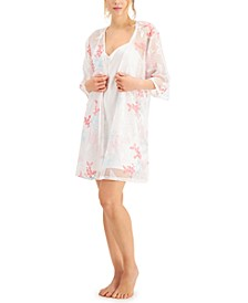 INC Embroidered Wrap Robe & Chemise, Created for Macy's