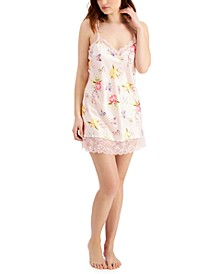 INC Lace-Trim Floral Chemise Nightgown, Created for Macy's