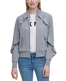 Ruffled Zip-Front Sweater Jacket