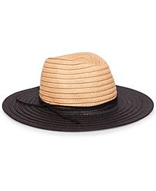 Two-Tone Straw Fedora Hat