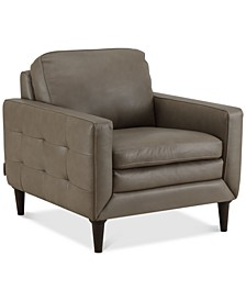 """Locasta 35"""" Leather Arm Chair, Created for Macy's"""