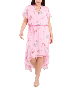 1.state TRENDY PLUS SIZE WILDFLOWER BOUQUET PRINTED HIGH-LOW DRESS