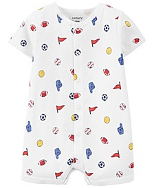 Baby Boys Sports Print Snap-Up Romper