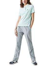 Cotton Mesh-Collar Striped Polo Shirt