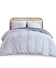 Aitana Full/Queen Tufted Cotton Chenille Duvet Cover, Set of 3