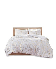 Magnolia King/California King Metallic Printed Floral Duvet Cover, Set of 3