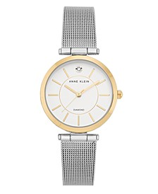 Two-Tone Stainless Steel Mesh Bracelet Watch 30mm