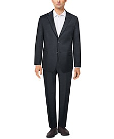 Men's Slim-Fit Charcoal Twill Suit Separates
