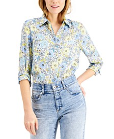 INC Petite Floral Button-Up Shirt, Created for Macy's