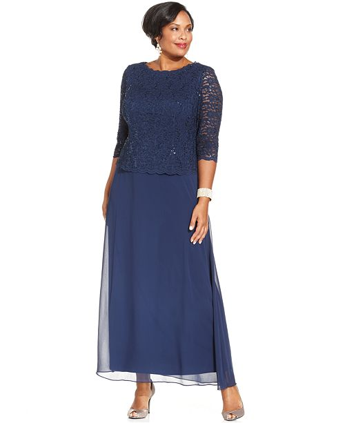 5986943486236 Alex Evenings Plus Size Sequined Lace Gown   Reviews - Dresses ...