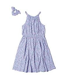 Big Girls Hi-Neck All Over Print Dress with Scrunchie