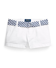 Little Girls Belted Stretch Chino Shorts