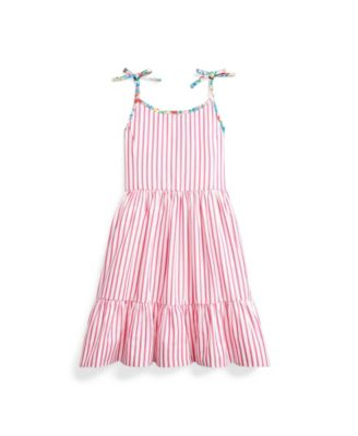 폴로 랄프로렌 Polo Ralph Lauren Toddler Girls Striped Dress,Pink/white
