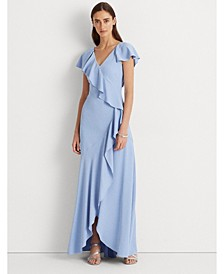 Ruffle-Trim Crepe Gown