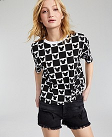 Juniors' Cotton Mickey-Print Checker-Grid T-Shirt