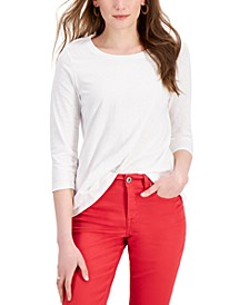 Solid 3/4-Sleeve Cotton Top, Created for Macy's