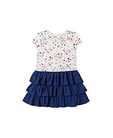 Toddler Girls Short Sleeve All Over Print Tutu Dress
