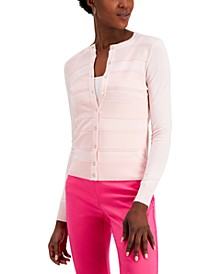 Pointelle-Stripe Cardigan, Created for Macy's