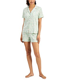 Printed Notch-Collar Top & Shorts Pajama Set, Created for Macy's