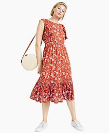 Petite Floral-Print Ruffled Midi Dress, Created for Macy's