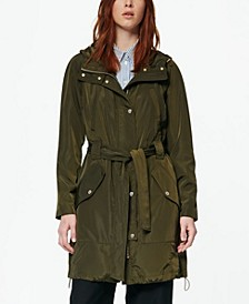 Women's Belted Poly Trench Rain Coat