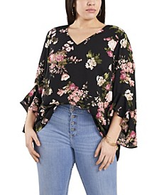 Women's Plus Size Flutter Sleeve Beautiful Blooms V- Neck Tunic