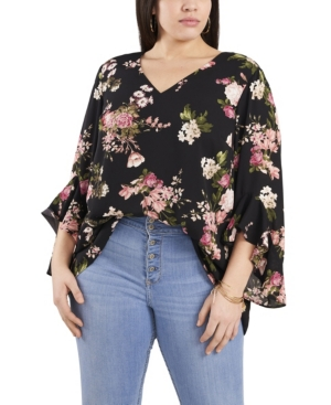 Vince Camuto WOMEN'S PLUS SIZE FLUTTER SLEEVE BEAUTIFUL BLOOMS V- NECK TUNIC