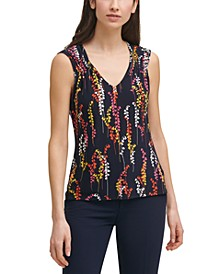 Printed Smocked-Shoulder Top