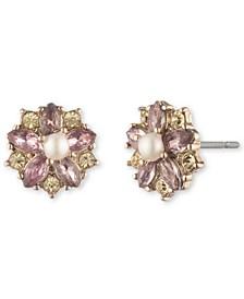 Gold-Tone Cubic Zirconia & Imitation Pearl Flower Button Earrings