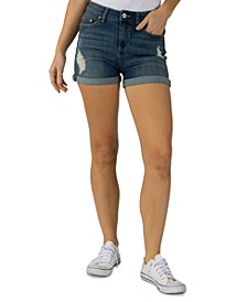Juniors' High Rise Ripped Cuffed Shorts