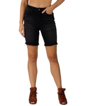 Juniors' Frayed Bermuda Denim Shorts