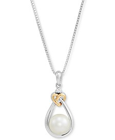 "Cultured Freshwater Pearl (8mm) & Diamond Accent 18"" Pendant Necklace in Sterling Silver and 14k Gold"