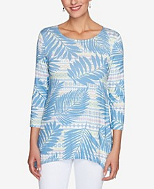 Women's Misses Knit Palm Stripe Top