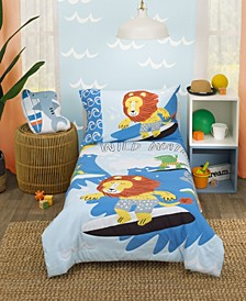 Little Dude Adventure Surfing Animals 4 Piece Toddler Bed Set