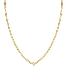 Simple Flat Chain and Crystal Bead Necklace