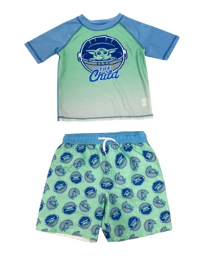 Dreamwave Kids' Toddler Boys The Child Rash Guard And Trunk Set In Blue
