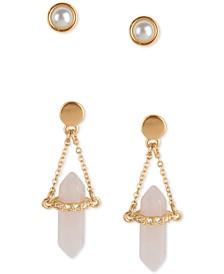 Gold-Tone 2-Pc. Set Imitation Pearl Stud & Crystal Pendant Drop Earrings