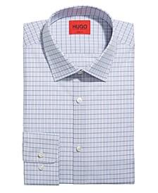 HUGO Men's Mabel Slim-Fit Light Pastel Blue Check Poplin Dress Shirt