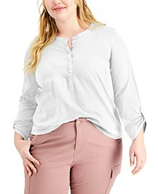 Plus Size Cotton Roll-Tab Henley Top, Created for Macy's