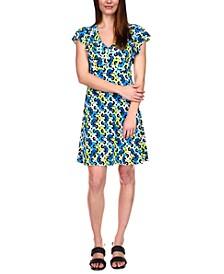 Floral-Print Flutter-Sleeve Dress, Regular & Petite