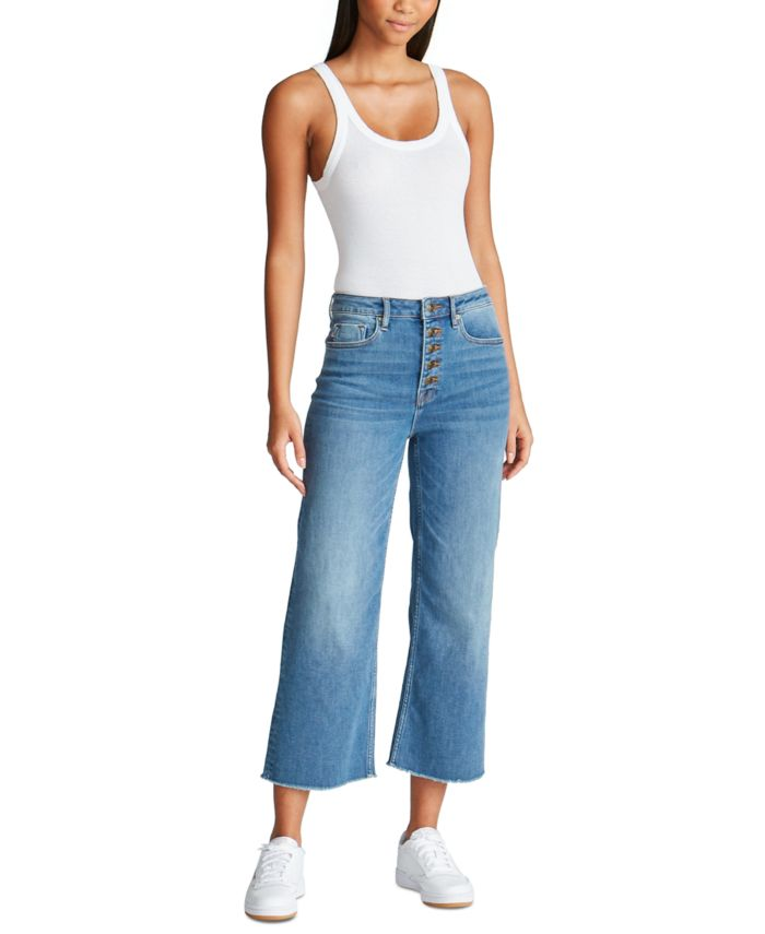 Vigoss Jeans Exposed-Button Wide-Leg Jeans & Reviews - Jeans - Juniors - Macy's