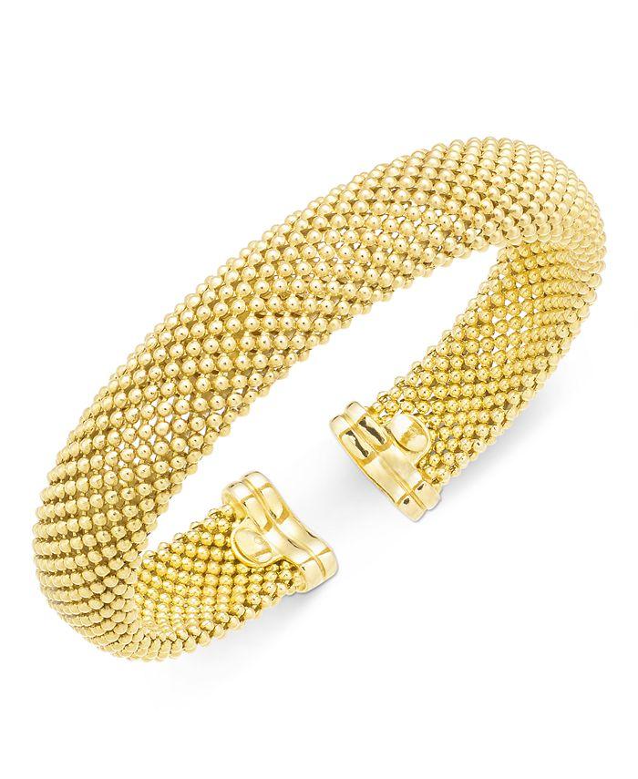 Italian Gold - Mesh Bangle Bracelet in 14k Gold over Sterling Silver