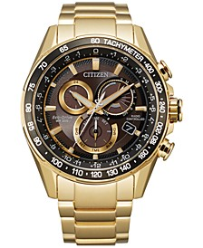 Eco-Drive Men's Chronograph PCAT Gold-Tone Stainless Steel Bracelet Watch 43mm
