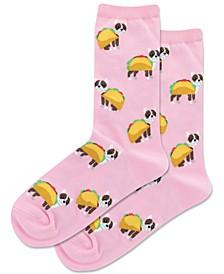 Women's Taco Terrier Novelty Crew Socks