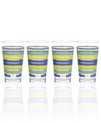Lapis Stripe Set of 4 Highball Glasses