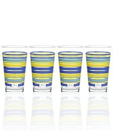 Fiesta Lapis Stripe Set of 4 Highball Glasses
