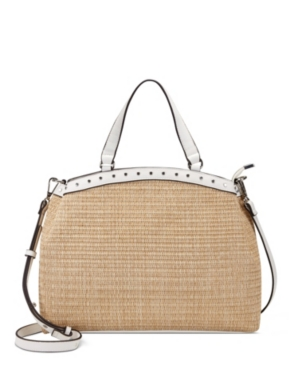 Inc International Concepts Inc Elliah Straw Satchel, Created For Macy's In Natural Straw/white/silver