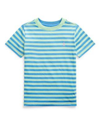 폴로 랄프로렌 Polo Ralph Lauren Little Boys Striped Cotton-Blend Jersey Tee,Green