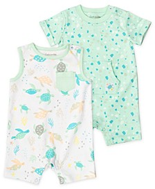 Baby Boys Rompers with Pastel Turtle Print, 2 Pack