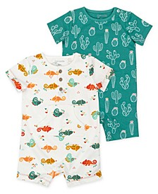 Baby Boys Romper with Cactus and Chameleon Print, 2 Pack